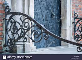 ornamental iron railing townhall wroclaw stock photo royalty