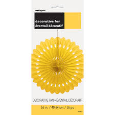 decorative fan yellow tissue paper decorative fan 16