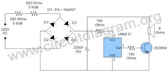 easy 220v doorbell using um66 ic circuit diagram