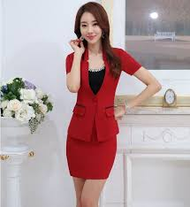 styles of work suites novelty red formal ol styles work suits jackets and mini skirt