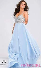 Light Blue Chiffon Dress Open Back Jovani Beaded Top Prom Dress Promgirl
