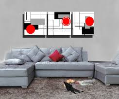 Paintings For Living Room by 3 Piece Hd Print Cheap Red Black White Modern Artwork Abstract
