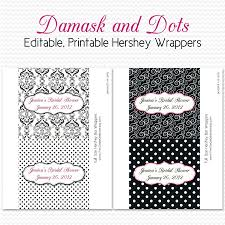 damask dot candy wrappers bridal shower favors black and