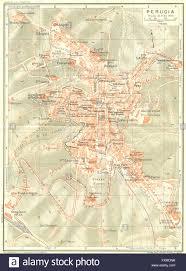 map of perugia perugia vintage town city map plan italy 1927 stock photo