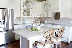 Small Kitchen Chandeliers Small Kitchen Island With Gray Beaded Chandeliers Transitional