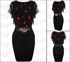 red lip print little black belt dress