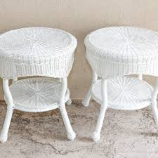 white wicker side table outdoor furniture outdoor decor and garden tools auction in