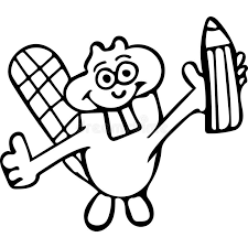 funny beaver with pencil coloring pages stock illustration image