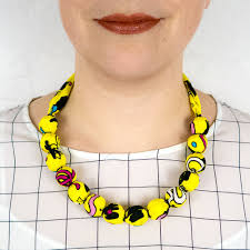 chunky bead necklace images Chunky fabric covered bead necklace 39 memphis 39 albaquirky jpg