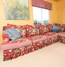 Ethan Allen Denim Sofa Reversible Denim And Floral Print Sectional With Ethan Allen Red