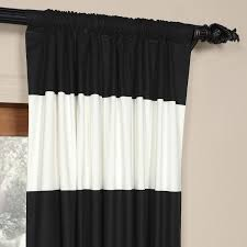Horizontal Stripe Curtains Black And Off White 50 X 96 Inch Horizontal Stripe Curtain Half