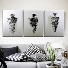 New Modern Black And White by 3 Piece Canvas Wall Art Black And White Oil Painting On Canvas