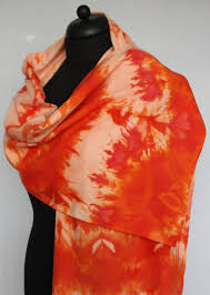 shades of orange scarf by bourettezijde 180 x 45 cm painted with the