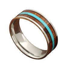 8mm ring 8mm ring with genuine koa wood inlay and a turquoise