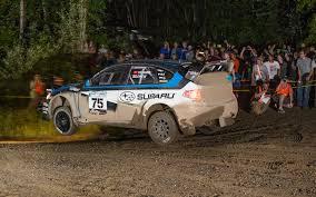 subaru rally racing subaru rally team usa driver david higgins flies through the night