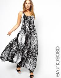 asos maxi dress in spooky tree print in black lyst