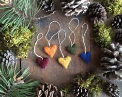 felted wool ornaments set of 5