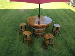 Wine Barrel Patio Table Custom Made Wine Barrel Umbrella Table Set Patio Bars