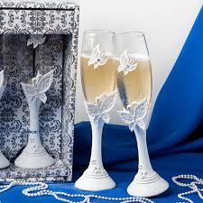 1set wedding supplies butterfly champagne glass wedding toasting