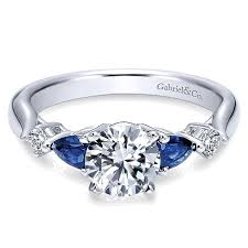twist engagement ring 14k white gold diamond and sapphire twisted shank with rounded