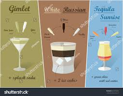 white russian drink recipe cocktail recipes vector white russian gimlet stock vector