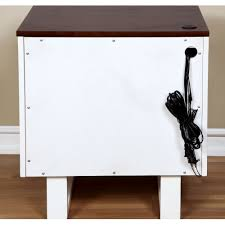 transitional style textured white youth nightstand with usb power