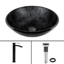 Onyx Bathroom Sinks Vigo Glass Vessel Sink In Gray Onyx And Waterfall Faucet Set In