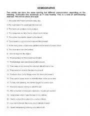 esl worksheets for adults homographs