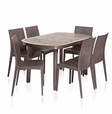 table and chairs plastic dining set 6 seater homegenic