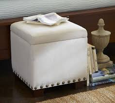 raleigh upholstered storage cube with nailhead pottery barn