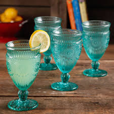 the pioneer woman adeline embossed 12 ounce footed glass goblets