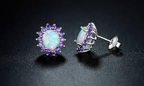 amethyst earrings 0 25 cttw white opal and amethyst stud earrings in 18k white