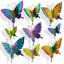 butterflies garden decoration multi coloured metal outdoor