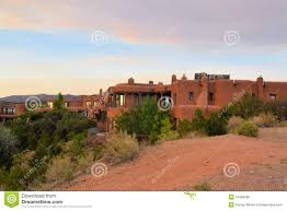 Santa Fe Style House Adobe Architecture Style House In Sata Fe New Stock Photo Image