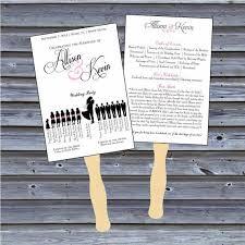 fan style wedding programs printable wedding program fans printable silhouette style