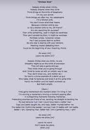 Kitchen Sink Lyrics | nobody thinks what you think no one empathy might be on the brink