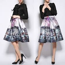 knee length skirt vintage cityscape painting high waist knee length skirt look