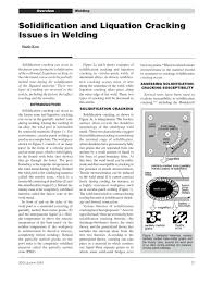 solidification cracking in weld metal for monel