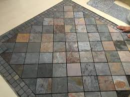 Laminate Tile And Stone Flooring Work In Progress 4x4 Multi Color Slate With 2x2 Boarder Inset In
