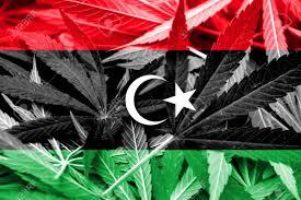 Libyas Flag Libya Flag On Cannabis Background Drug Policy Legalization