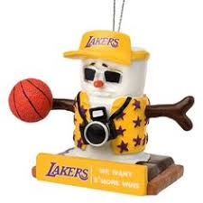 los angeles lakers light up snowman ornament lakers