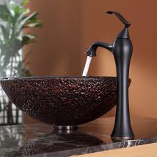 Vessel Faucets Oil Rubbed Bronze Bathroom Glass Vessel Sink And Faucet Combination Kraususa Com
