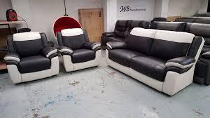 Scs Armchairs Ex Display Scs Leo Black U0026 White Leather 3 Seater Sofa U0026 2