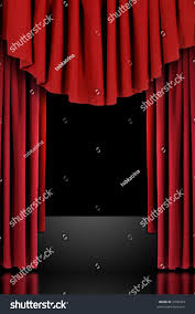 red vertical draped theatre curtains on stock photo 3398704