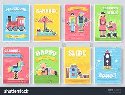 kids playground field brochure cards set imagem vetorial de banco