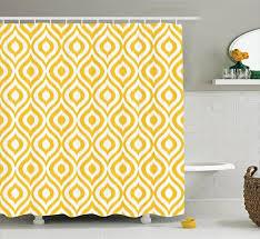 Yellow Damask Shower Curtain Retro Modern Shower Curtains Amazon Com