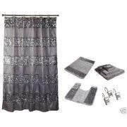 Black Sequin Shower Curtain 15 Piece Bath Sets