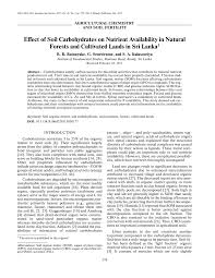 effect of soil carbohydrates on nutrient availability in natural