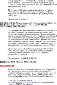 act 833 course descriptions of approved training classes for