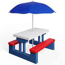 childrens bench and table set deuba kids garden table bench picnic set with parasol outdoor
